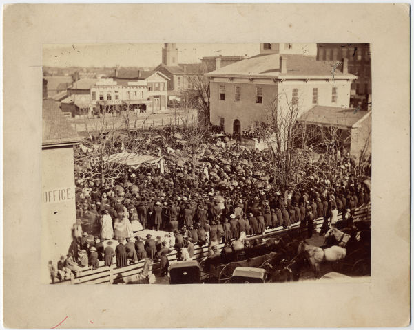 Image: Bloomington, Illinois, indignation meeting over the Lincoln assassination