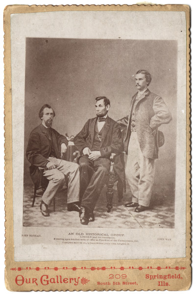 Image: An Old Historical Group. Lincoln and his Secretaries