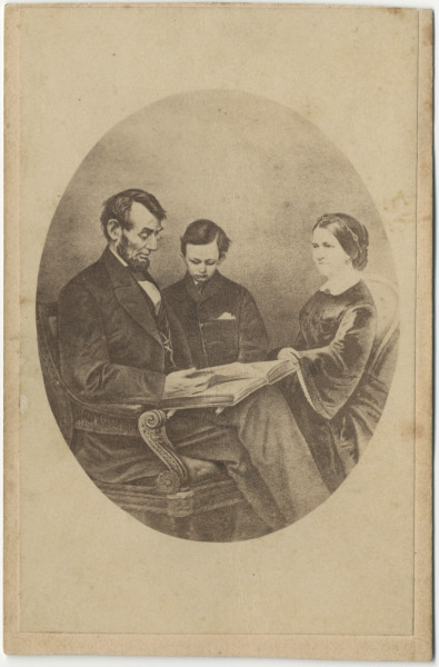 Image: Abraham and Mary Lincoln with  Tad