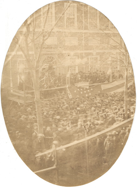 "Image: ""Lincoln at flag raising, Philadelphia"""