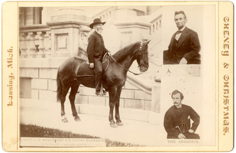 Image: Luther B. Baker and His Horse Buckskin, Abraham Lincoln, and John Wilkes Booth