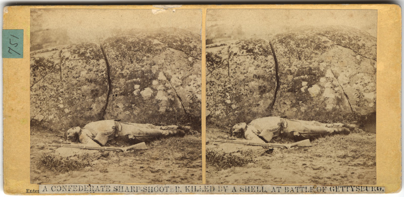 Image: A Confederate Sharpshooter, Killed by a Shell at Batle of Gettysburg