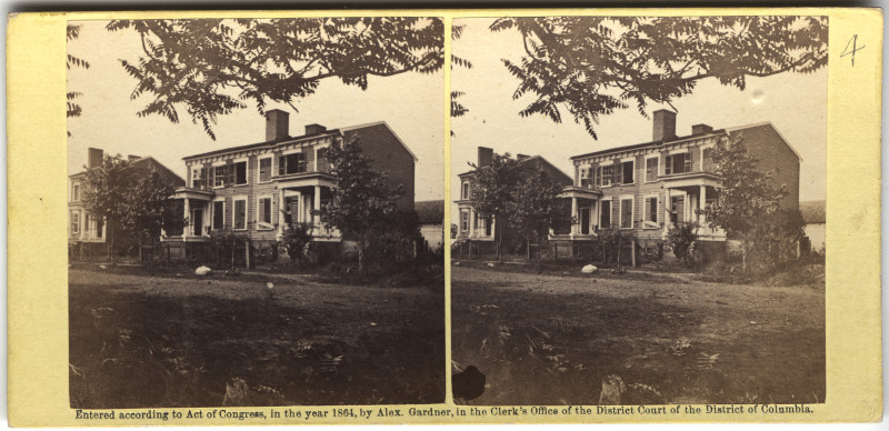 Image: Three Houses in Fredericksburg, Va., Showing the Effects of Shelling