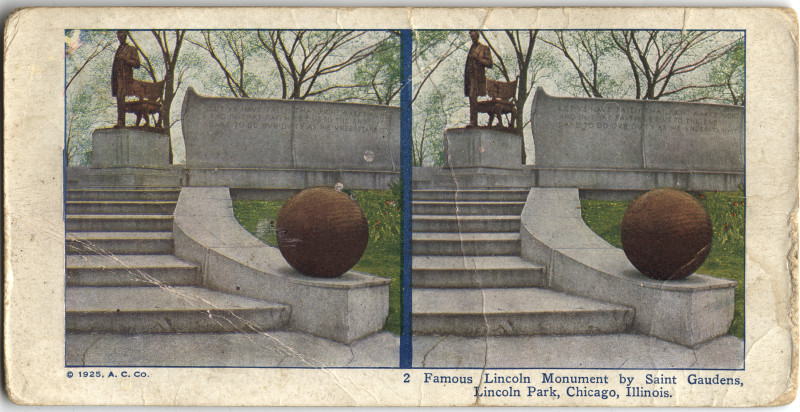 Image: Famous Lincoln Monument by Saint Gaudens, Lincoln Park, Chicago, Illinois
