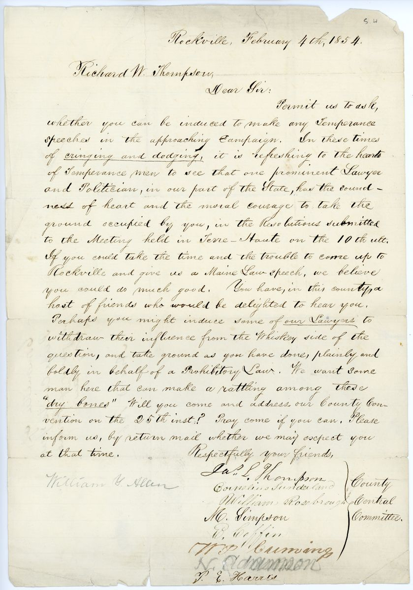 Image: Letter from James L. Thompson et al to Richard W. Thompson