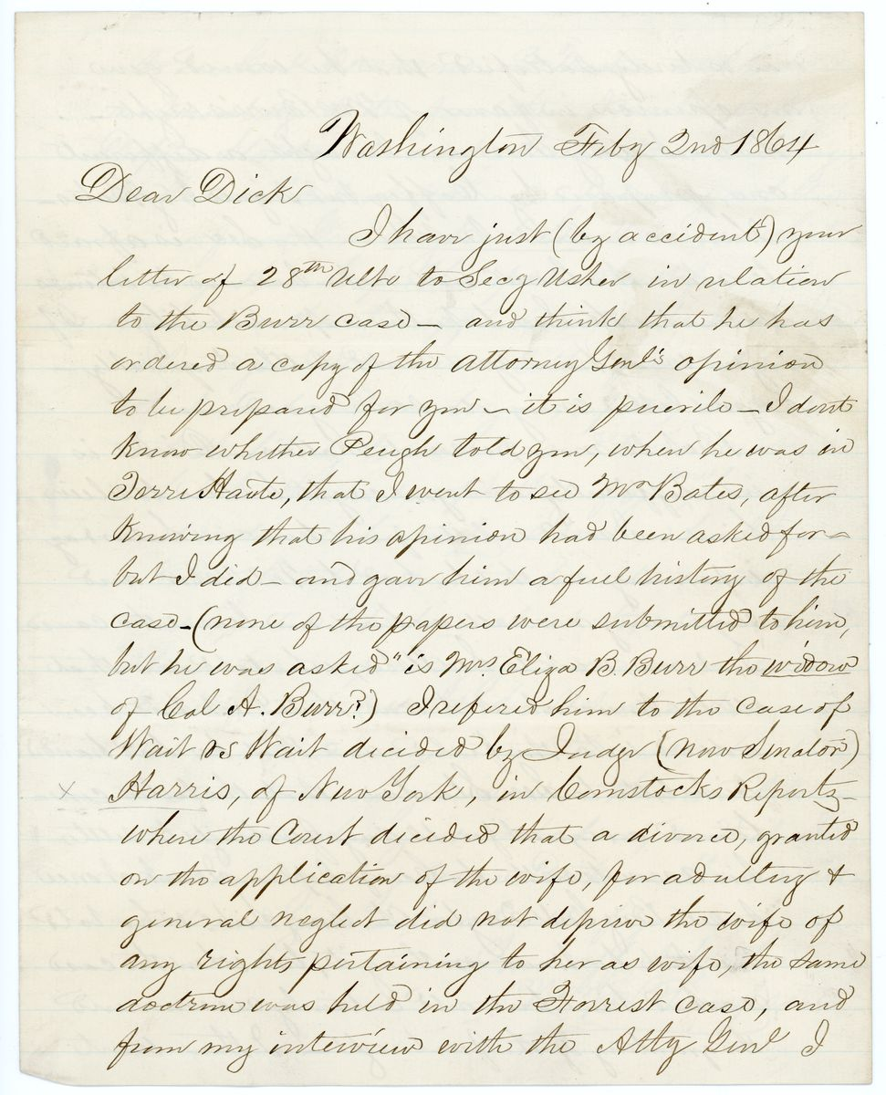 Image: Letter from William M. Thompson to Richard W. Thompson