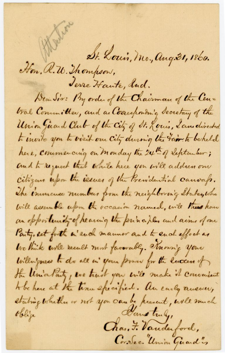 Image: Letter from Charles F. Vanderford to Richard W. Thompson