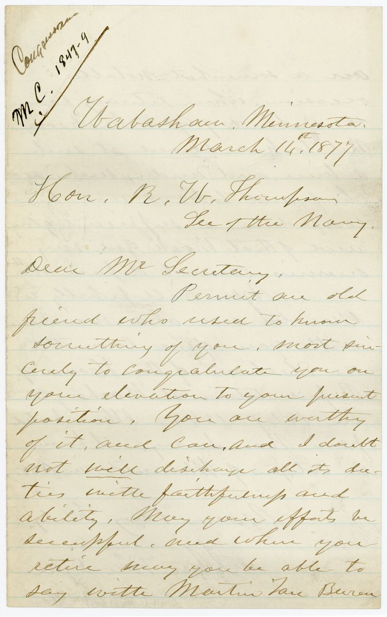 Image: Letter from John Van Dyke to Richard W. Thompson