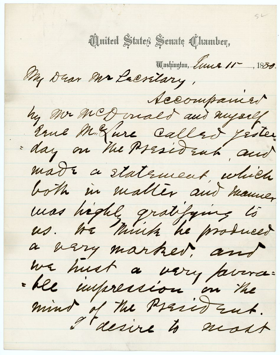 Image: Letter from Daniel W. Voorhees to Richard W. Thompson