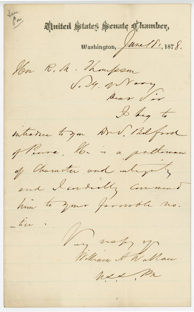Image: Letter from William A. Wallace to Richard W. Thompson