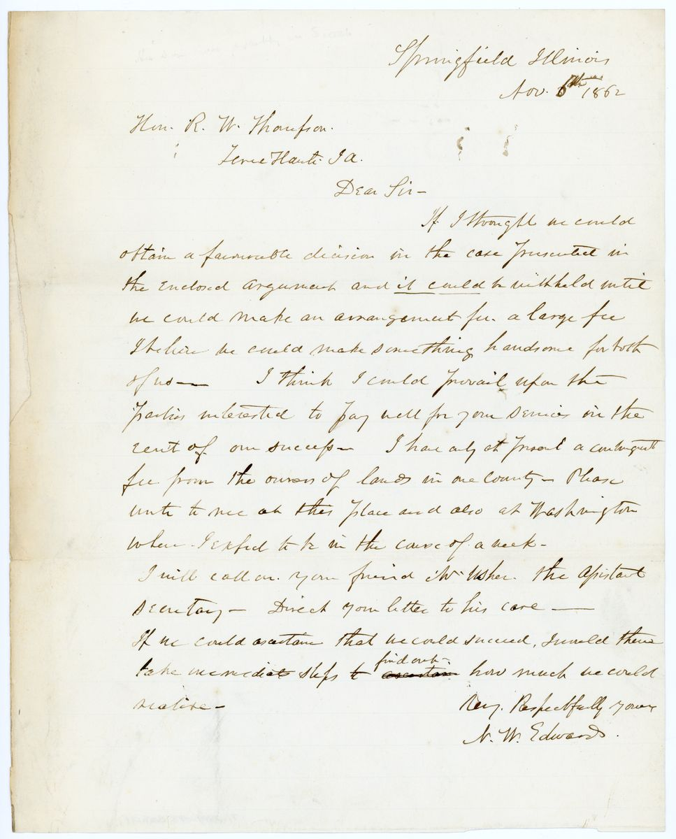 Image: Letter from Ninian W. Edwards to Richard W. Thompson