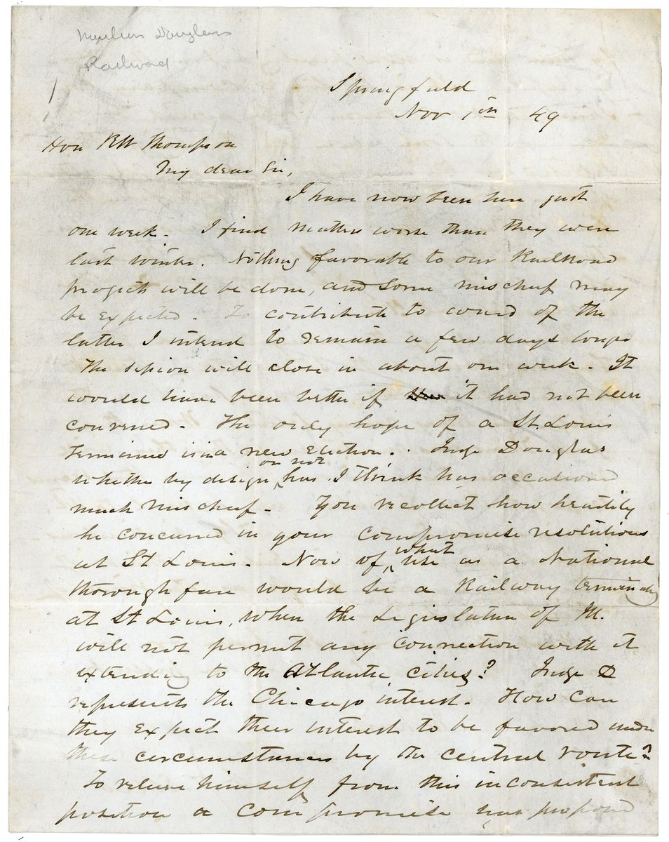 Image: Letter from Abner Y. Ellis to Richard W. Thompson