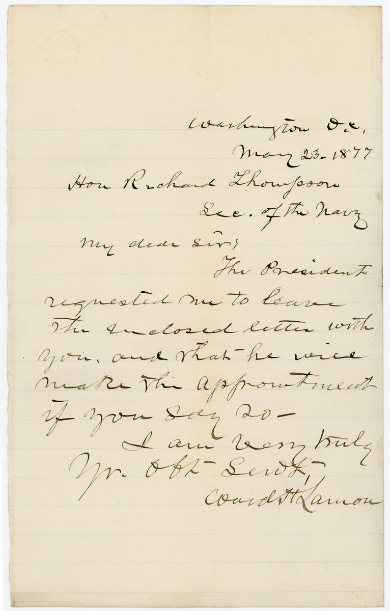 Image: Letter from Ward Hill Lamon to Richard W. Thompson