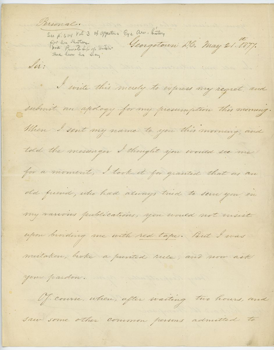 Image: Letter from Charles Lanman to Richard W. Thompson
