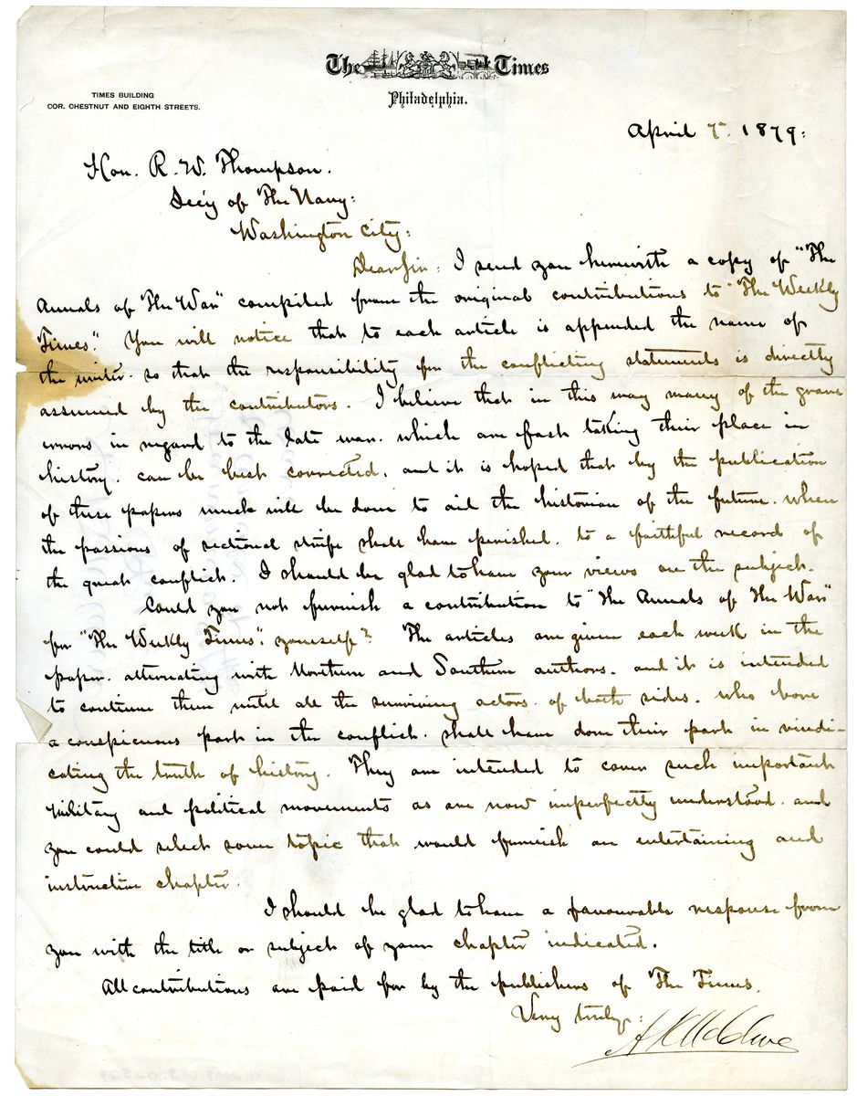 Image: Letter from A.K. McClure to Richard W. Thompson