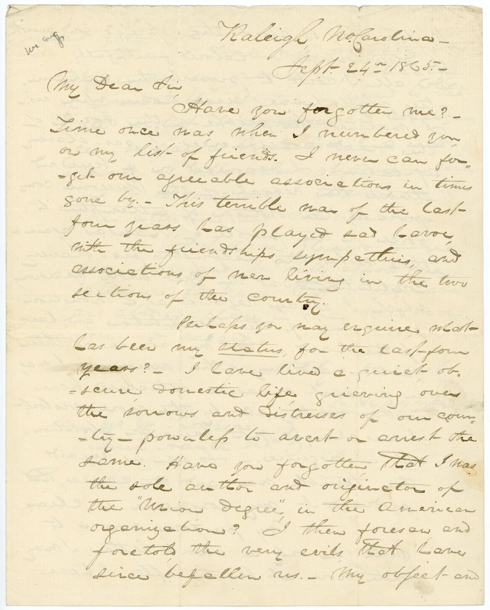 Image: Letter from Kenneth Rayner to Richard W. Thompson