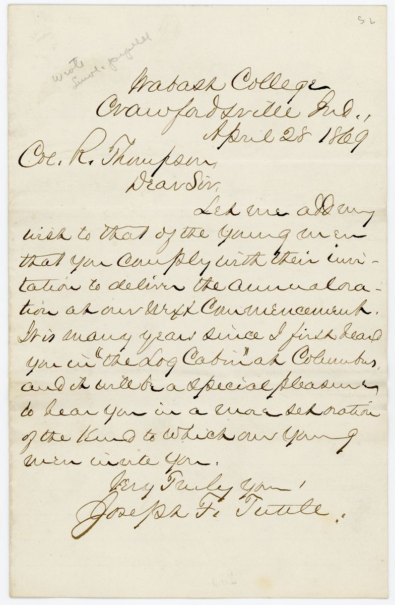 Image: Letter from Joseph Tuttle to Richard W. Thompson