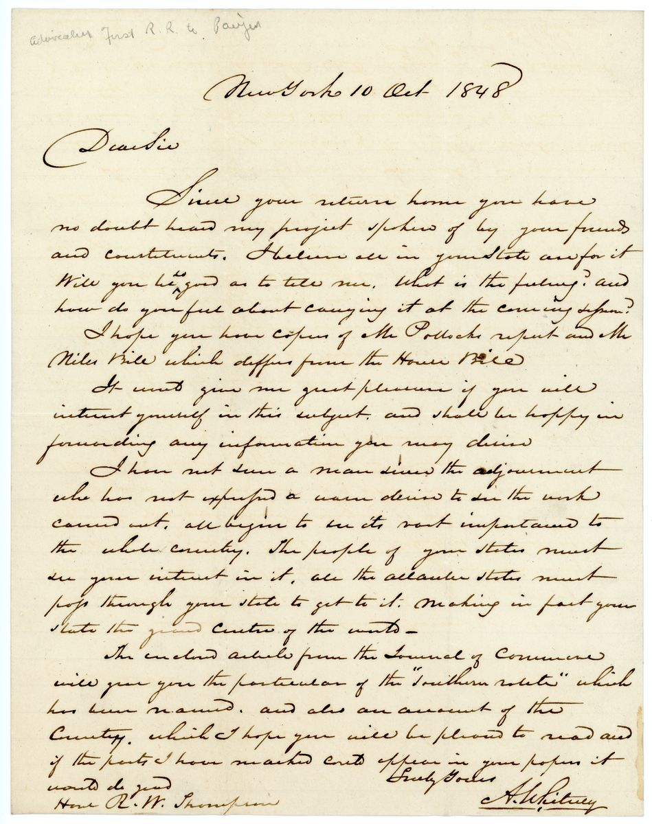 Image: Letter from Asa Whitney to Richard W. Thompson