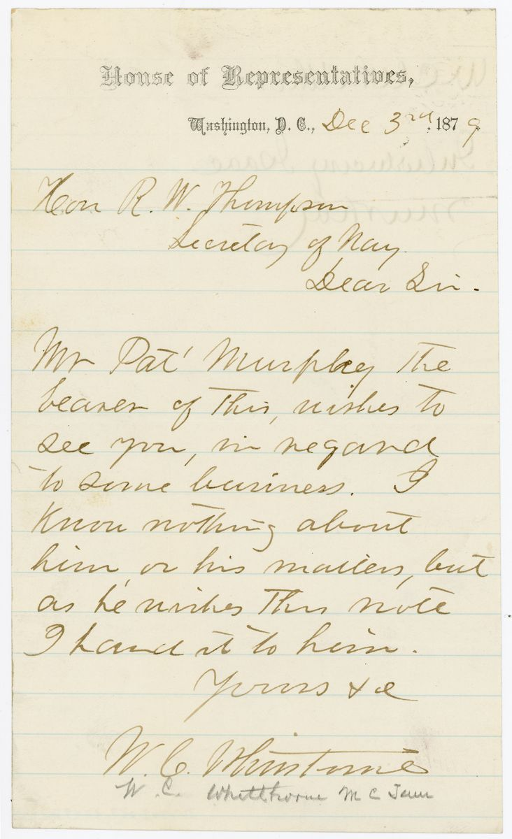 Image: Letter from W.C. Whitthorne to Richard W. Thompson
