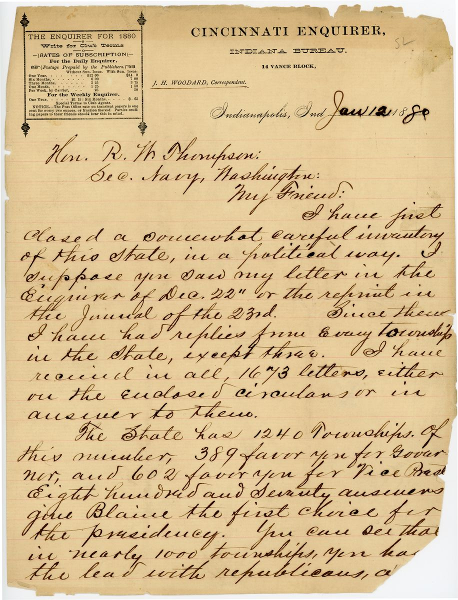 Image: Letter from J.H. Woodard to Richard W. Thompson