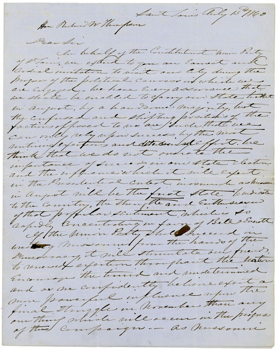 Image: Letter from James E. Yeatman and Charles H. Tillson to Richard W. Thompson
