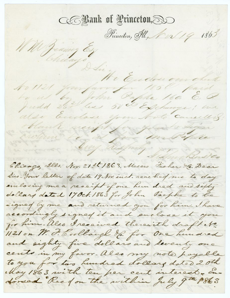 Image: Letter from E.M. Fisher to W.M. Zearing and reply