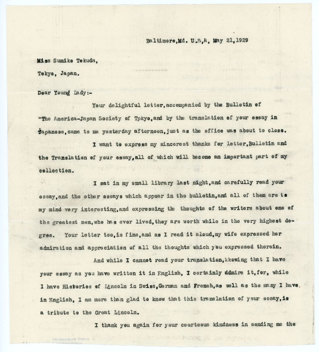 Image: Letter from E.L. Bangs to Sumiko Tokuda