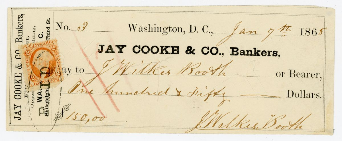 Image: Check on Jay Cooke & Co. Bankers written by John Wilkes Booth