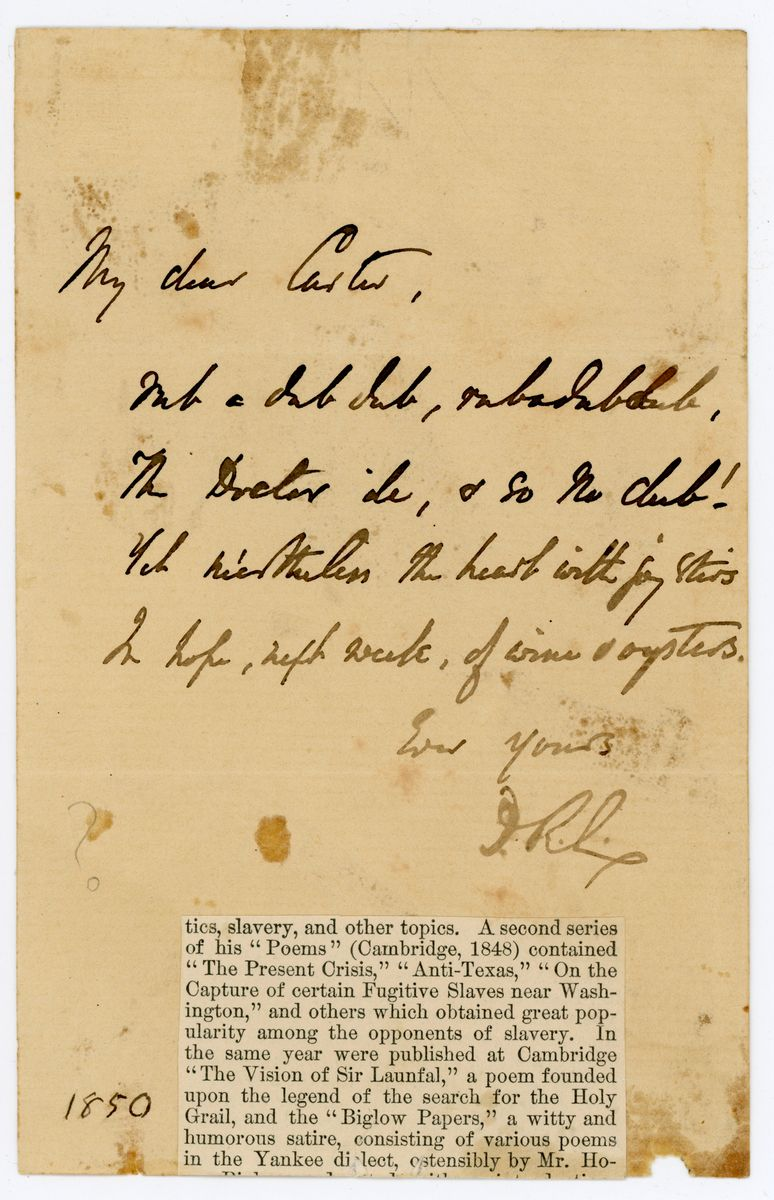"Image: Poem from James Russell Lowell to ""My dear Carter"""