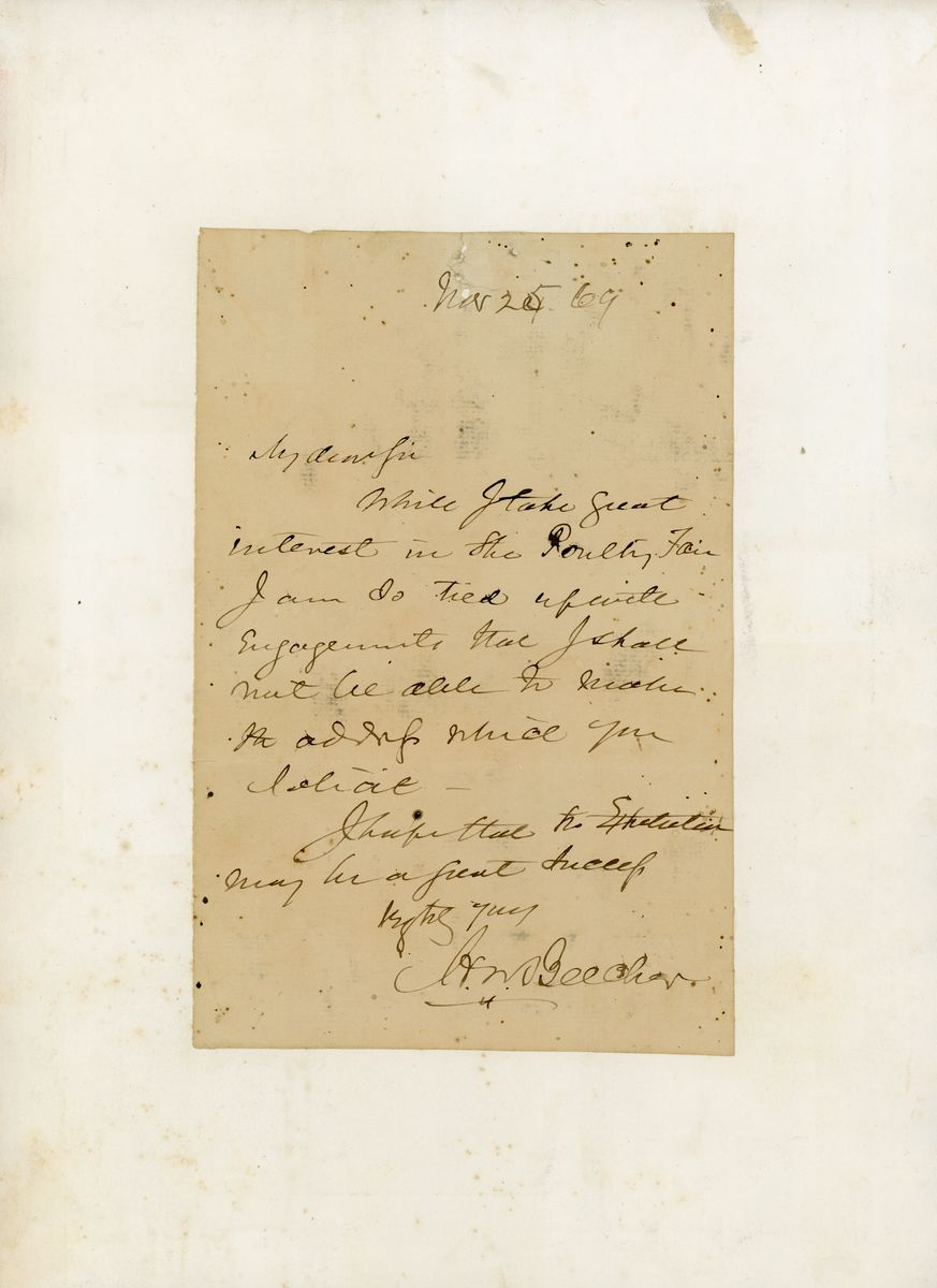 "Image: Letter from Henry Ward Beecher to ""My Dear Sir"""