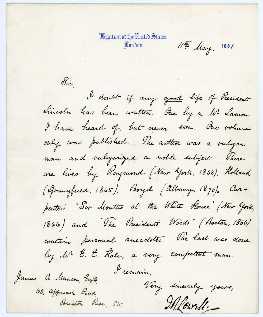 Image: Letter from James Russell Lowell to James A. Mason
