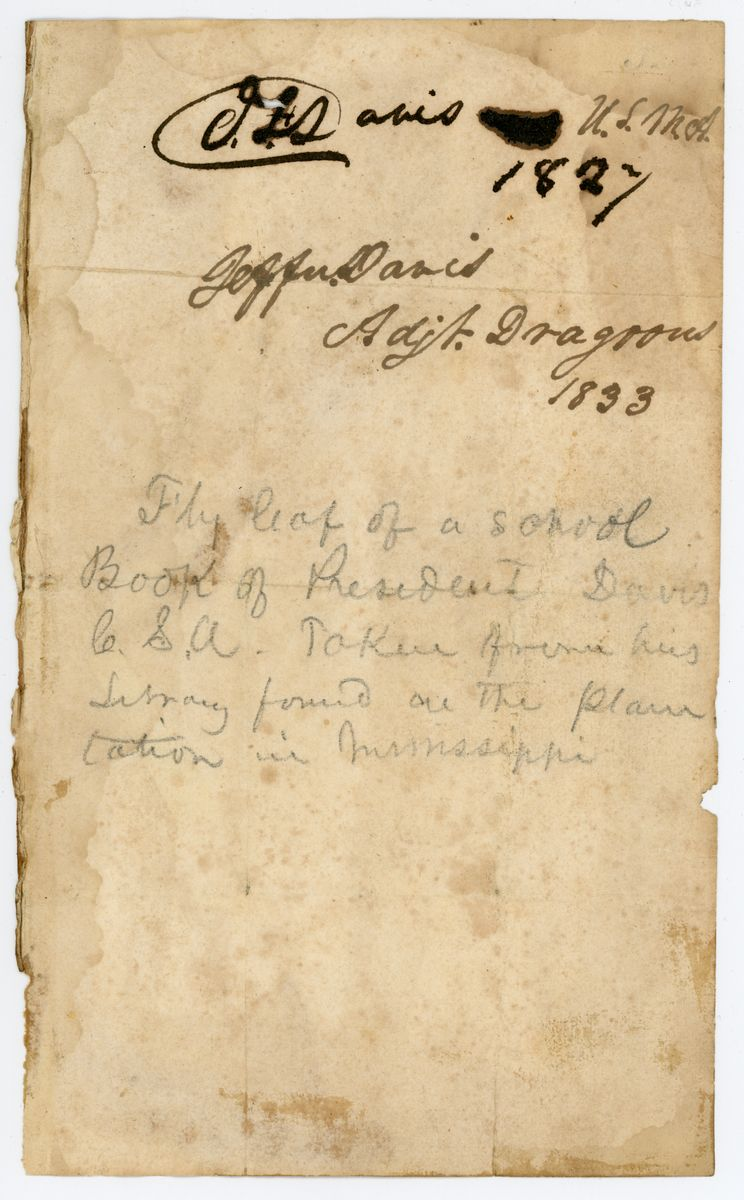 Image: Fly-leaf from school book belong to Jefferson Davis
