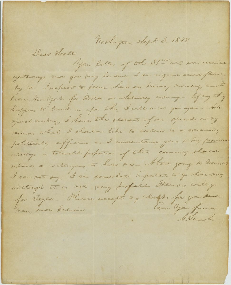 Image: Letter from Abraham Lincoln to Junius Hall, Esq.