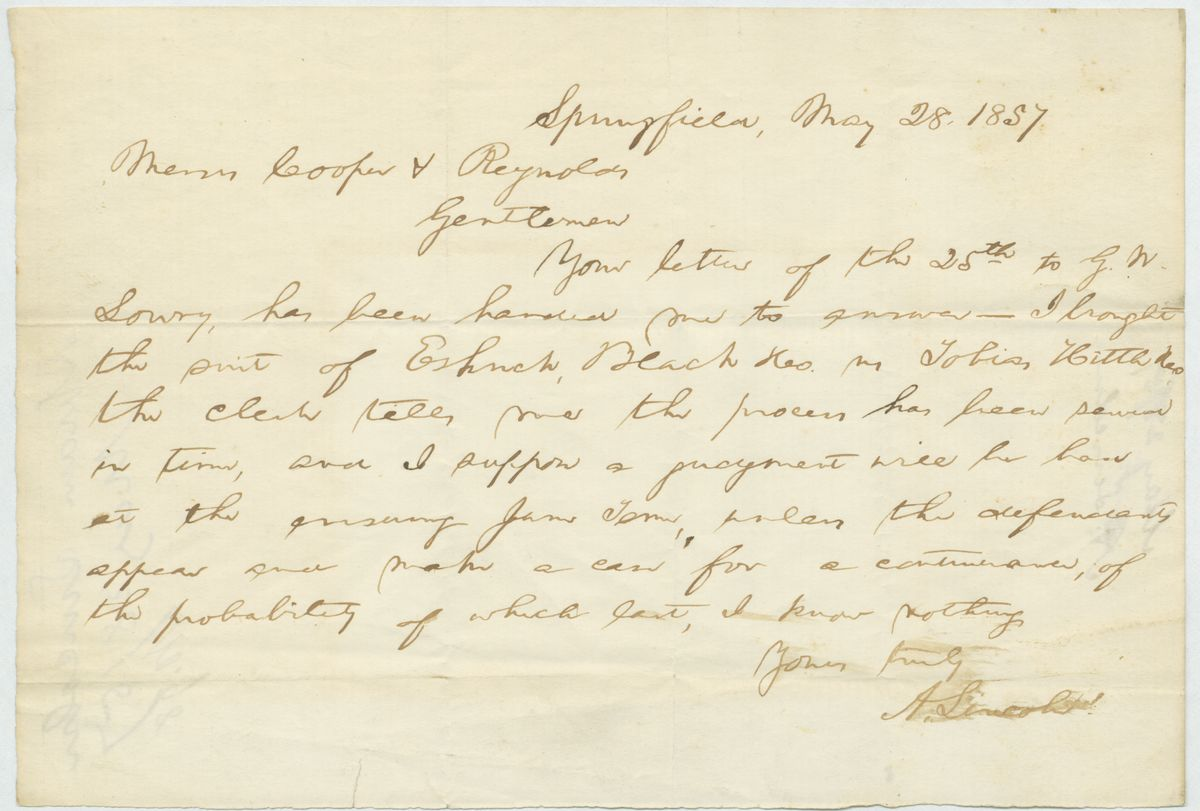 Image: Letter from Abraham Lincoln to Jonathan K. Cooper and Hugh W. Reynolds