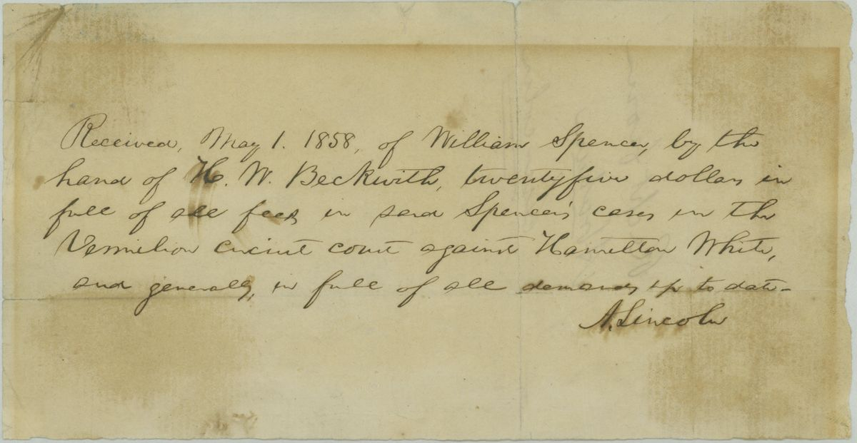 Image: Receipt by Abraham Lincoln with Affadavit