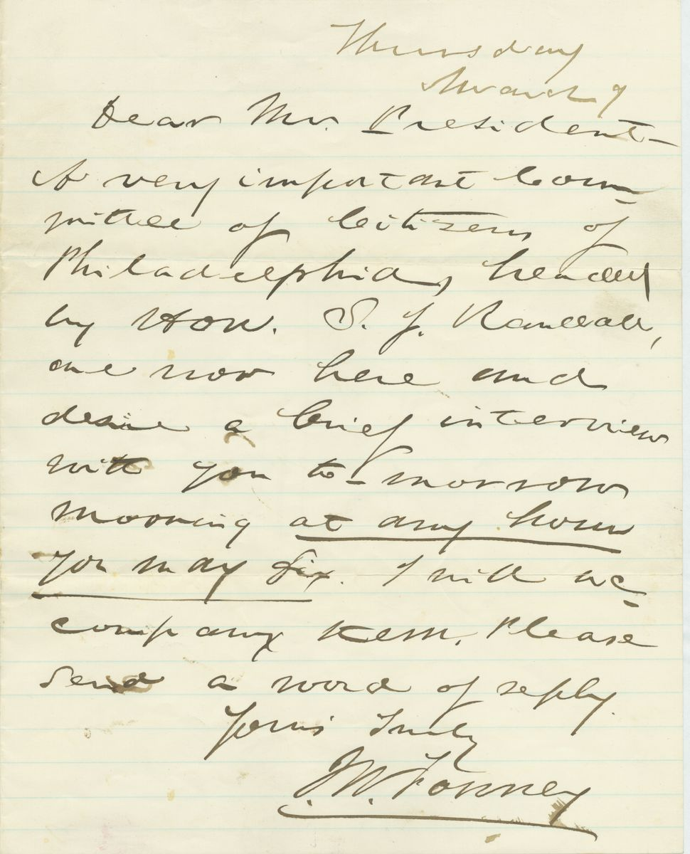 Image: Letter from J. W. Forney to Abraham Lincoln