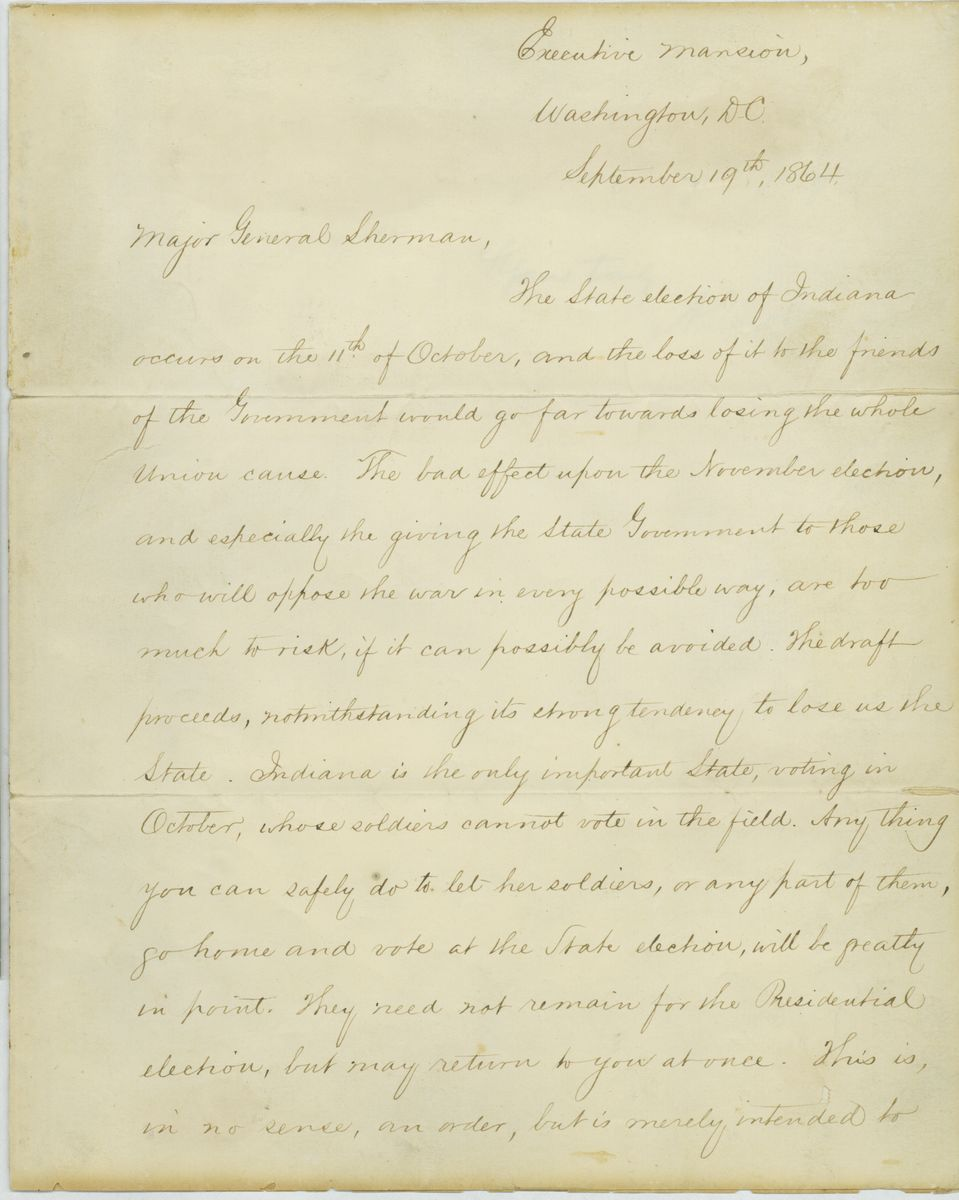 Image: Letter from Abraham Lincoln to William Sherman