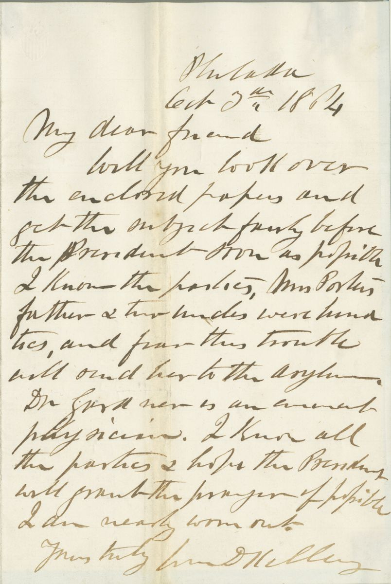 Image: Letter from William D. Kelley to Abraham Lincoln