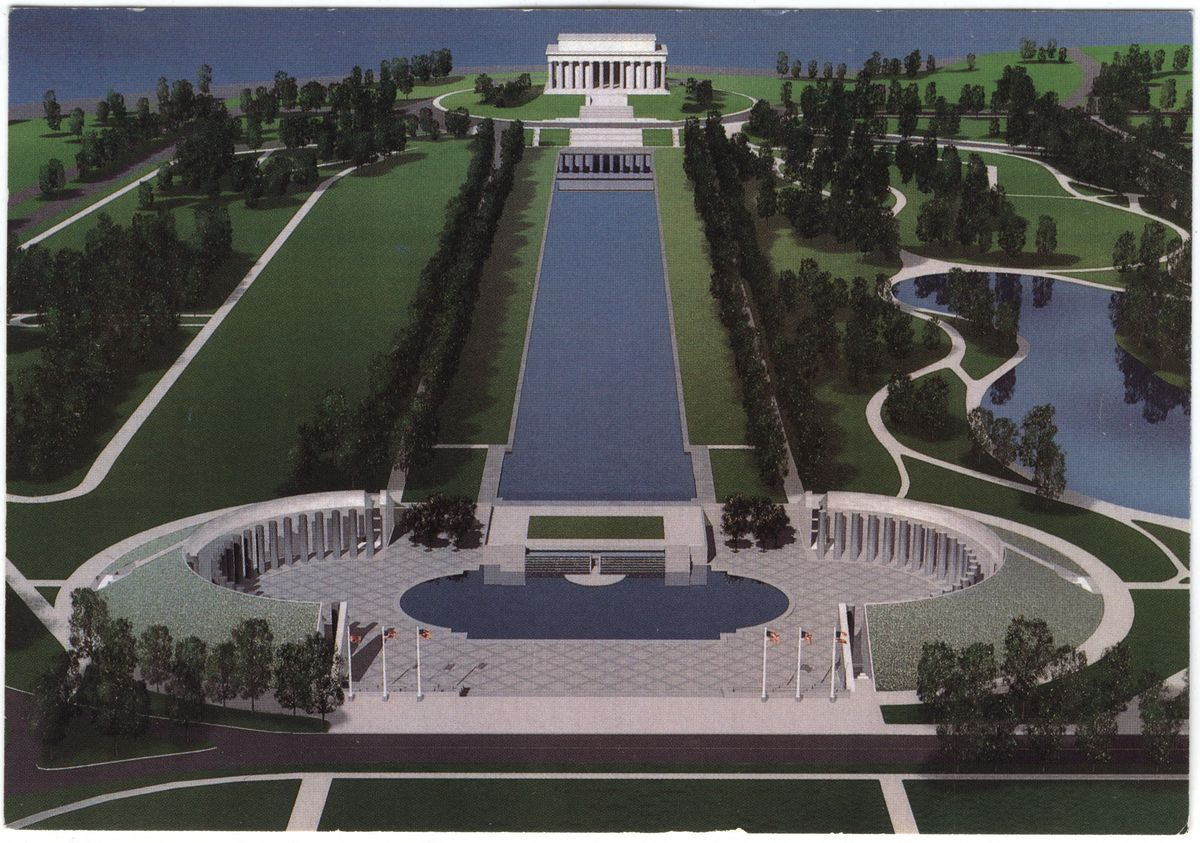 Image: Lincoln Memorial, Reflecting Pool, and proposed World War II Memorial