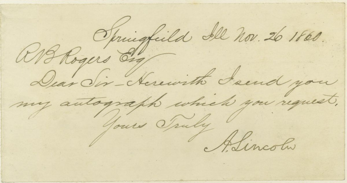Image: Letter from Abraham Lincoln to R. B. Rogers, Esq.