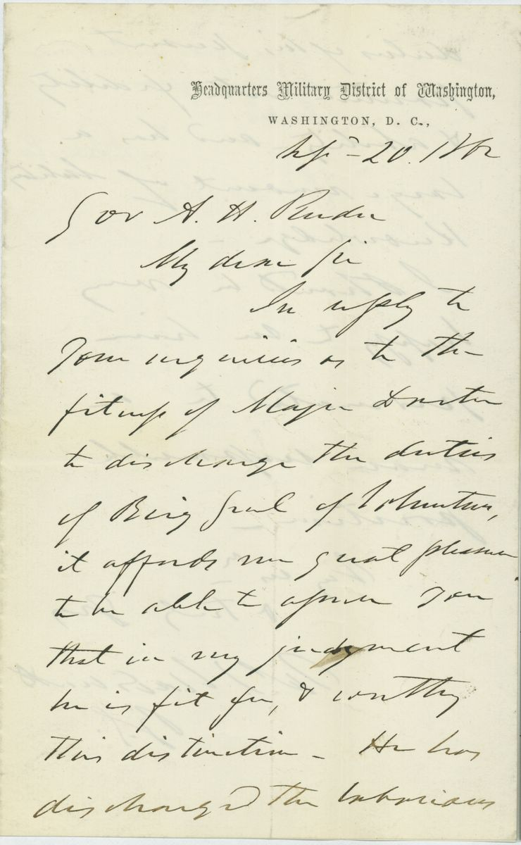 Image: Letter from James S. Wadsworth to Andrew H. Reeder