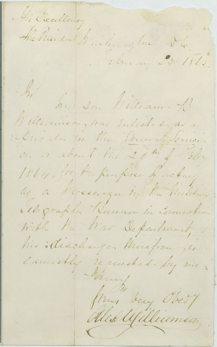 Image: Letter from Alex Williamson to Abraham Lincoln