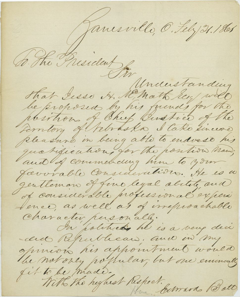 Image: Letter from Edward Bott to Abraham Lincoln