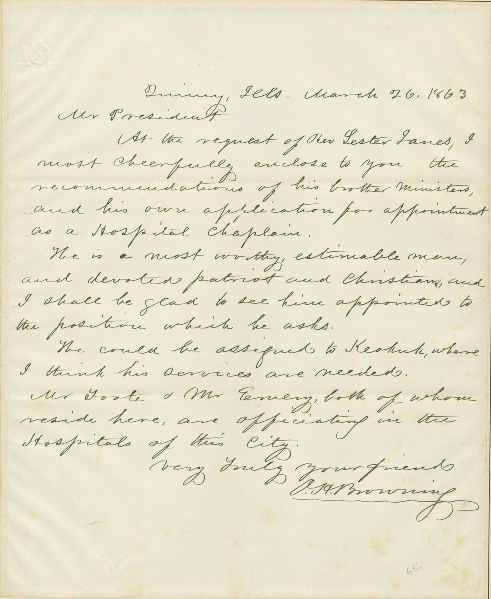 Image: Letter from Orville Hickman Browning to Abraham Lincoln
