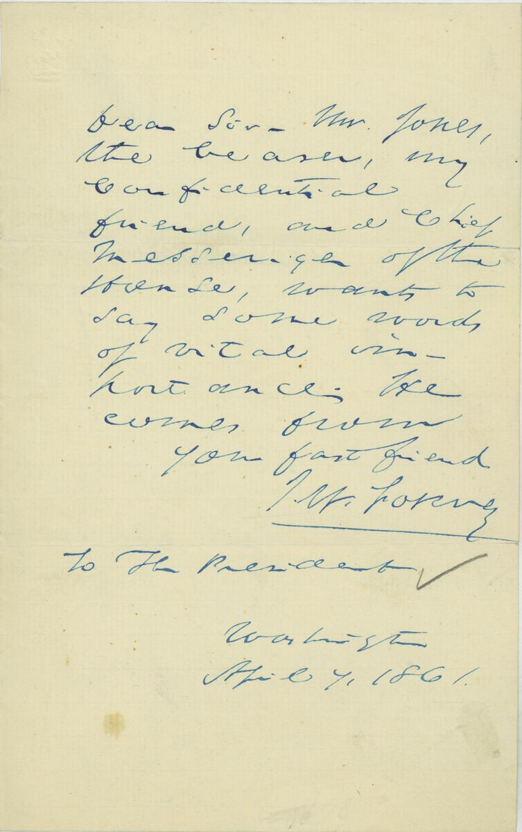 Image: Letter from John W. Forney  to Abraham Lincoln