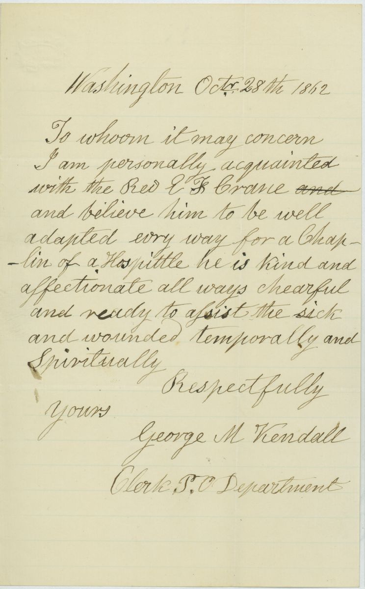Image: Letter from George M. Kendall to Abraham Lincoln