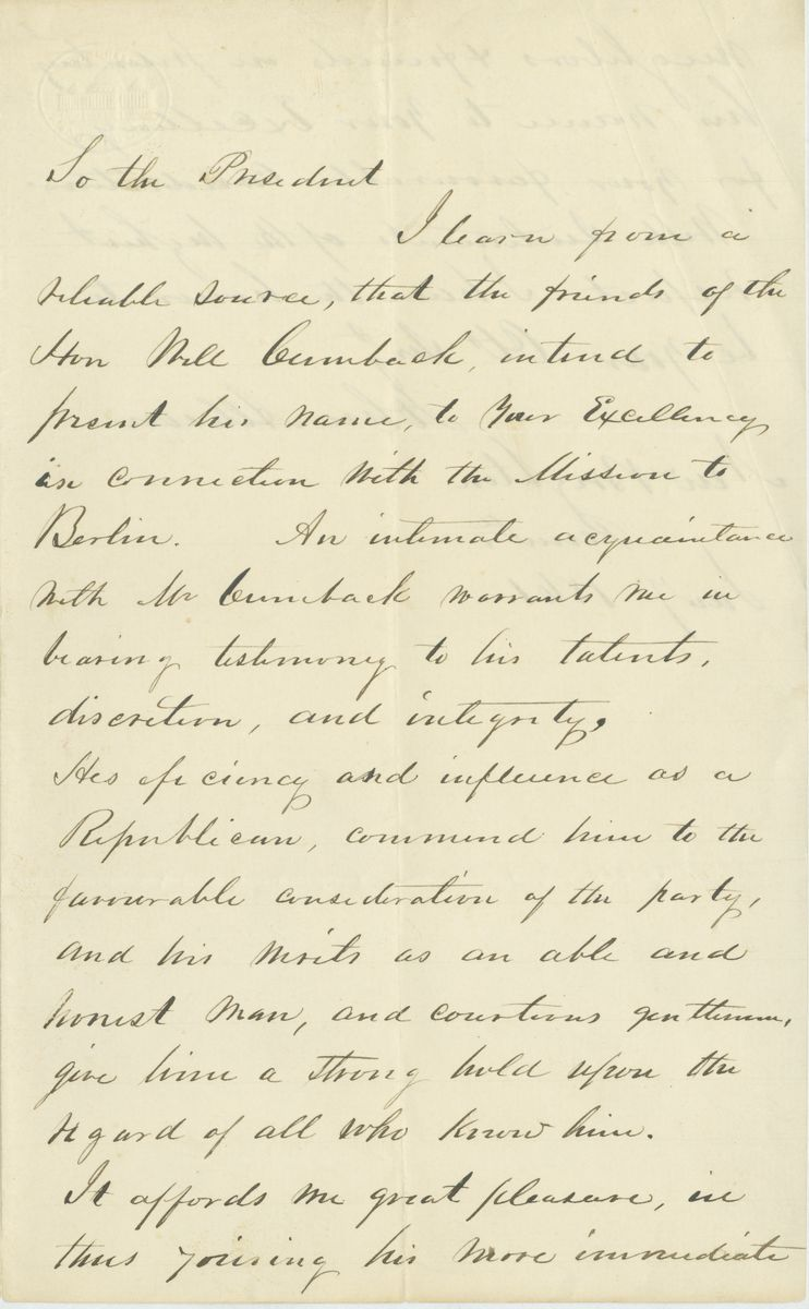 Image: Letter from John Allison to Abraham Lincoln