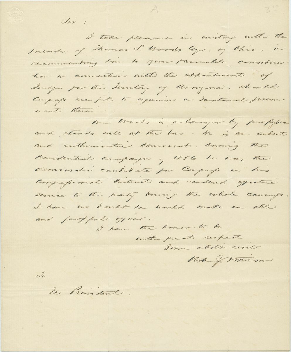 Image: Letter from Robert J. Atkinson to Abraham Lincoln