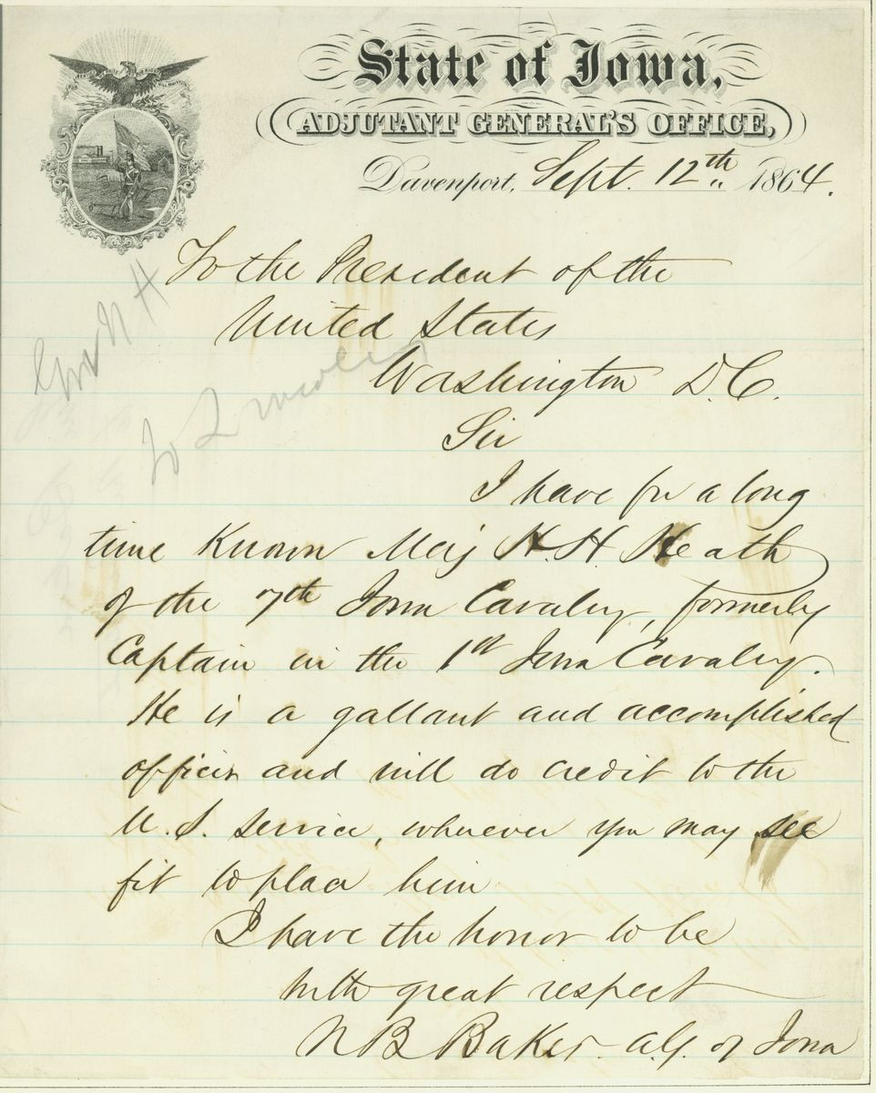 Image: Letter from Nathaniel B. Baker to Abraham Lincoln