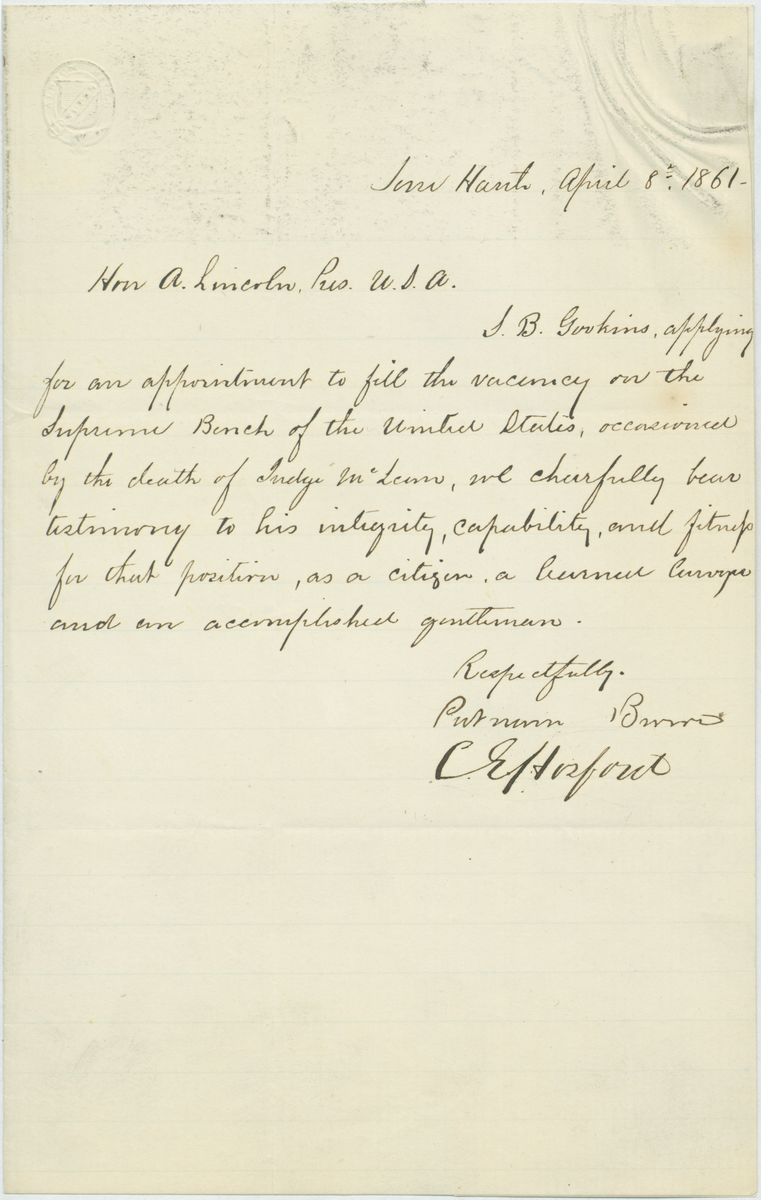 Image: Letter from Putnam, Barnet and Others to Abraham Lincoln